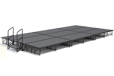 12' x 24' Carpet Finished Dual Height Economy Executive Stage Kit