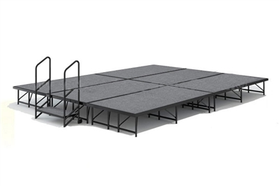 12' x 16' Carpet Finished Dual Height Economy Executive Stage Kit