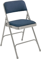Premium Padded Fabric-Seat Executive Folding Chairs - Silver / Blue