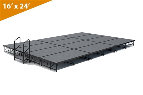 "16' x 24' 8"" High, Single Height Stage Kit (Carpet Finish)"