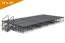 "12' x 24' - 24"" Single Height Stage Kit ( Carpet Finish )"
