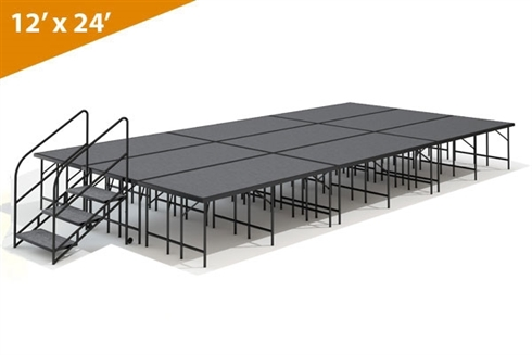 "12' x 24' - 32"" Single Height Stage Kit ( Carpet Finish )"