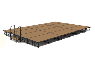 "16' x 24' 8"" High, Economy Executive Portable Stage Kit (Hardboard Finish)"