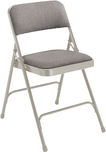 Premium Padded Fabric-Seat Executive Folding Chairs - Silver