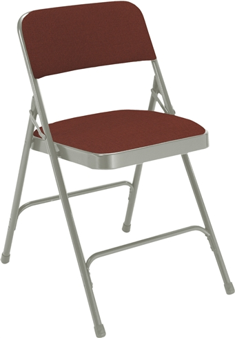 Premium Padded Fabric-Seat Executive Folding Chairs - Silvre / Brown