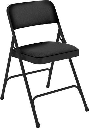 Premium Padded Fabric-Seat Executive Folding Chairs - Black