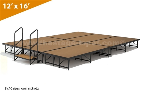 "12' x 16' - 16"" Single Height Stage Kit (Hardboard Finish)"