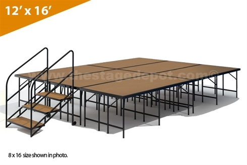 "12' x 16' - 32"" Single Height Stage Kit (Hardboard Finish)"