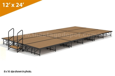 "12' x 24' - 16"" Single Height Stage Kit (Hardboard Finish)"