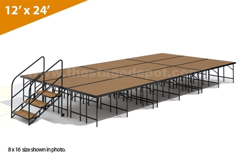 "12' x 24' - 32"" Single Height Stage Kit (Hardboard Finish)"