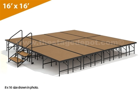 "16' x 16' - 24"" Single Height Stage Kit (Hardboard Finish)"