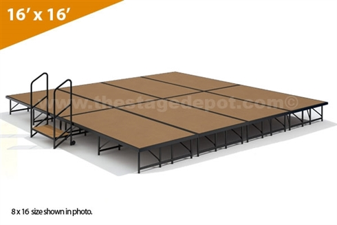 "16' x 16' - 8"" Single Height Stage Kit (Hardboard Finish)"