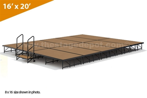 "16' x 20' - 24"" Single Height Stage Kit (Hardboard Finish)"