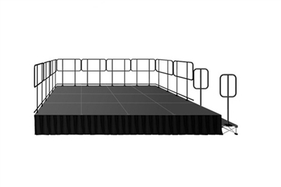 "192 SQUARE FOOT ( 12 FT X 16 FT) GUARDRAIL PORTABLE STAGE KIT WITH STEPS AND STAGE SKIRT – 16"" HIGH"