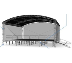 TSD Arched Shape Roof system, 390 Square Truss Construction. Canopy and Walls included.