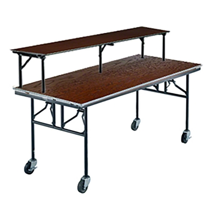 "Midwest Folding 30""x72"" Mobile Buffet/Bar Table, Stained Plywood Surface"