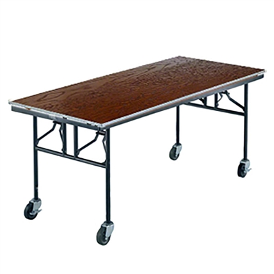 "Midwest Folding 30""x72"" Mobile Utility Table, Stained Plywood Surface"