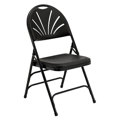 National Public Seating 1110 Polyfold Fan Back Triple-Brace Folding Chair, Black