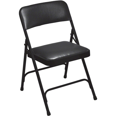 National Public Seating 1210 Vinyl Premium Folding Chair, Caviar Black