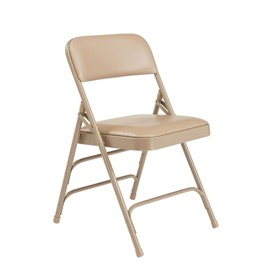 National Public Seating 1301 Vinyl Upholstered Premium Folding Chair, French Beige