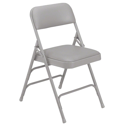 National Public Seating 1302 Vinyl Upholstered Premium Folding Chair, Warm Grey