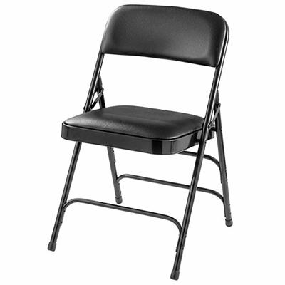 National Public Seating 1310 Vinyl Upholstered Premium Folding Chair, Caviar Black