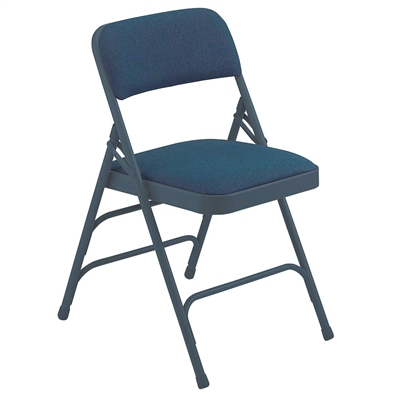 National Public Seating 2304 Fabric Premium Triple Brace Folding Chair, Imperial Blue/Char-Blue