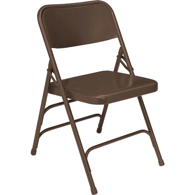 National Public Seating 303 Deluxe All-Steel Brace Folding Chair, Brown