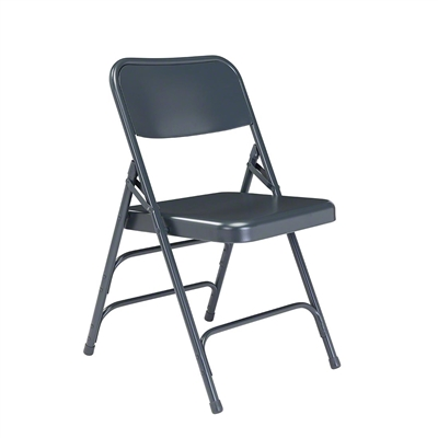 National Public Seating 304 Deluxe All-Steel Brace Folding Chair, Char-Blue