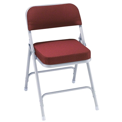National Public Seating 3218 Premium Steel Fabric Folding Chair, Burgundy