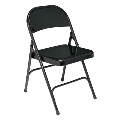 National Public Seating 510 Standard All-Steel Folding Chair, Black