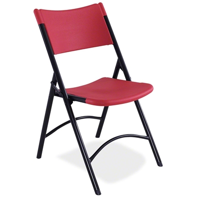 National Public Seating 640 Blow Molded Resin Plastic Folding Chair, Red
