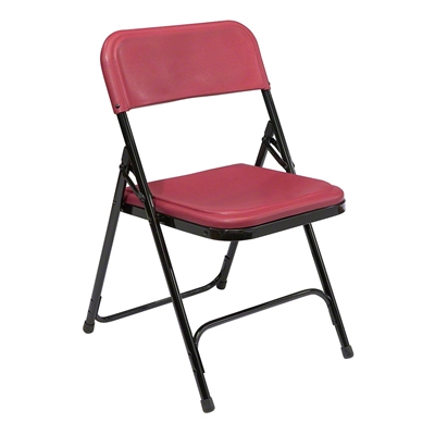 National Public Seating 818 Premium Plastic Lightweight Folding Chair, Burgundy