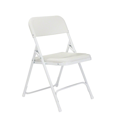 National Public Seating 821 Premium Plastic Lightweight Folding Chair, Bright White