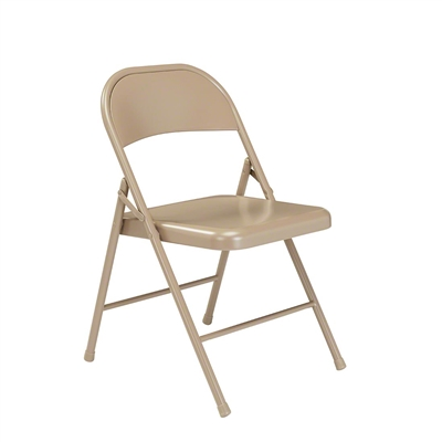 National Public Seating 901 Commercialine All-Steel Folding Chair, Beige