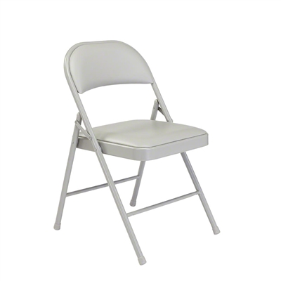National Public Seating 952 Commercialine Vinyl Padded Steel Folding Chair, Grey