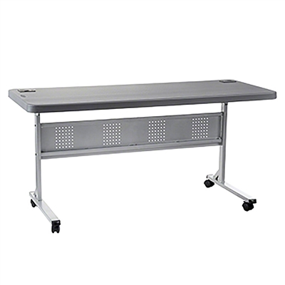 "National Public Seating BPFT-2460-20 24""x60"" Flip-N-Store Table, Charcoal Slate/Silver"