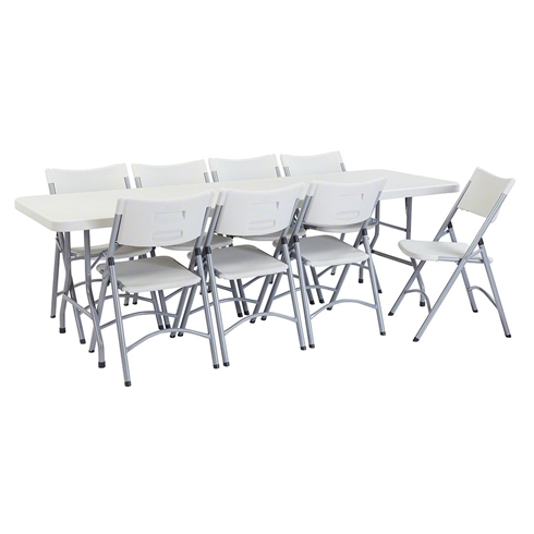 "National Public Seating 30"" x 96"" Rectangular Folding Table & Chairs Package"