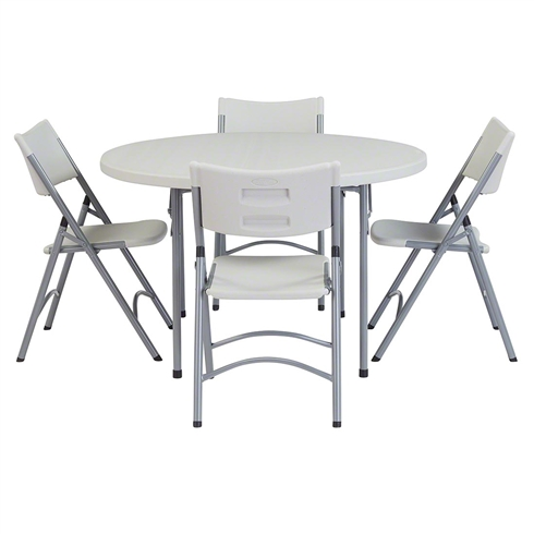 "National Public Seating 48"" Round Folding Table & Blow Molded Plastic Folding Chairs Package"
