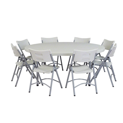 "National Public Seating 71"" Round Folding Table & Chairs Package"