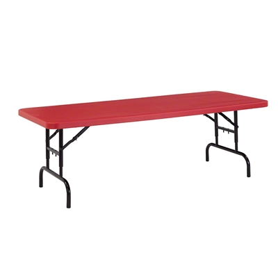 "National Public Seating BTA-3072 30""x72"" Height Adjustable Rectangular Folding Table, Red"