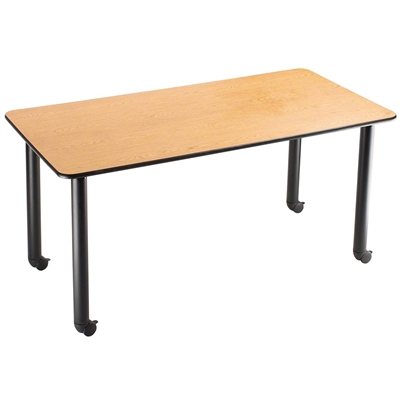 "National Public Seating 30""x60"" Rectangular Innovator Table, Height Adjustable with Casters, Banister Oak"
