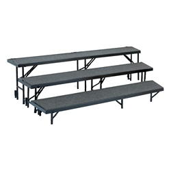 "3 Level Riser with Carpet Finish 18""Wx96""Lx8""H & 18""Wx96""Lx16""H & 18""Wx96""Lx24""H"