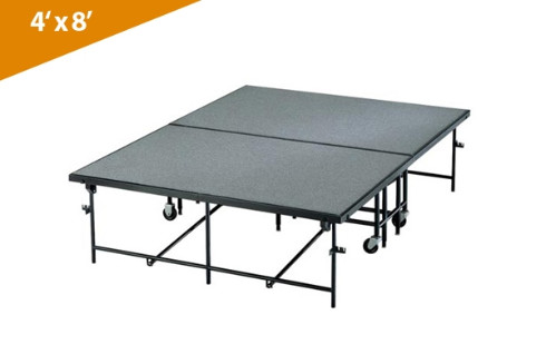 Mobile Folding Stages 4' X 8' Moblie Stage Section (In Carpet Finish)