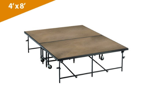 Mobile Folding Stages 4' X 8' Moblie Stage Section (In Hardboard Finish)