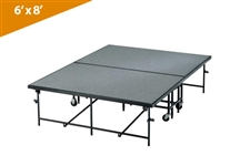 Mobile Folding Stages  6' X 8' Moblie Stage Section (In Carpet Finish)