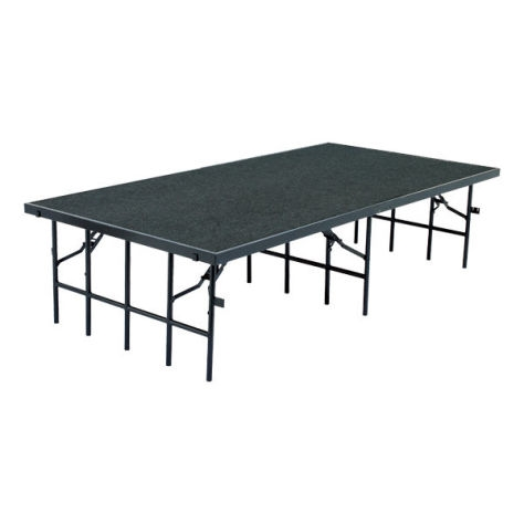 Single-Height Portable Stage & Seated Riser Section w/ Carpet Deck (8' L x 4' D)