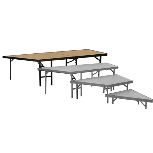 "National Public Seating Seated Riser Stage Pie Tier, 32"" Tall (48"" Deep), Hardboard Surface"