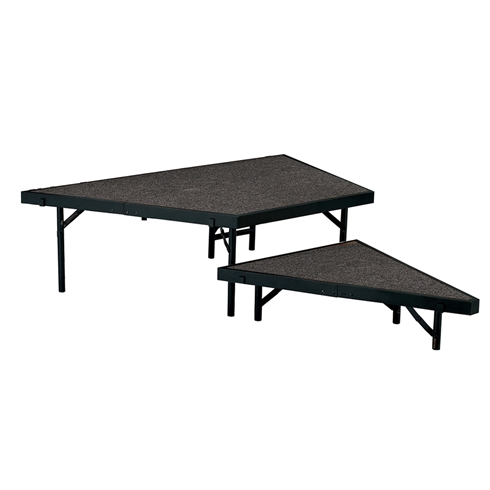"National Public Seating 2-Tier Seated Riser Stage Pie, Carpeted (48"" Deep Tiers)"