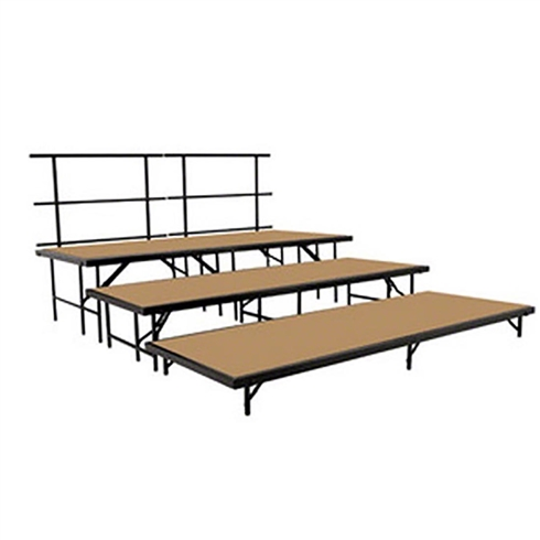 "National Public Seating 3-Tier Seated Riser Straight Stage Section, Hardboard (36"" Deep Tiers)"